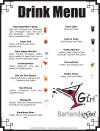 Bartender Drink Menu